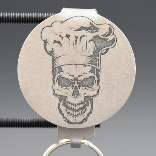 Chef Skull Pocket Clip Keychain