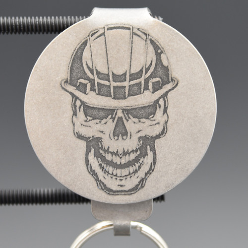 Contractor Skull Pocket Clip Keychain