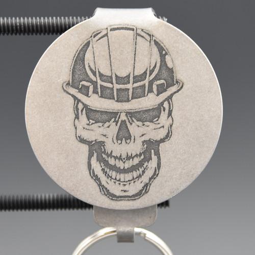 Contractor Skull Pocket Clip Keychain
