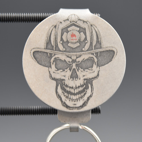 Firefighter Skull Pocket Clip Keychain