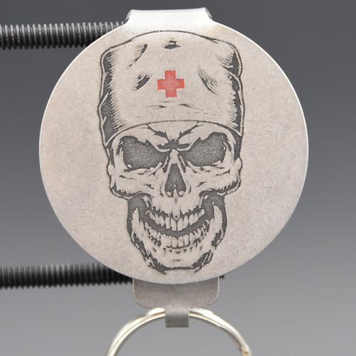 Medic Skull Pocket Clip Keychain