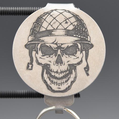 Military Skull Pocket Clip Keychain