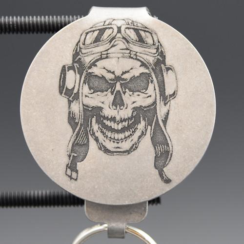 Pilot Skull Pocket Clip Keychain