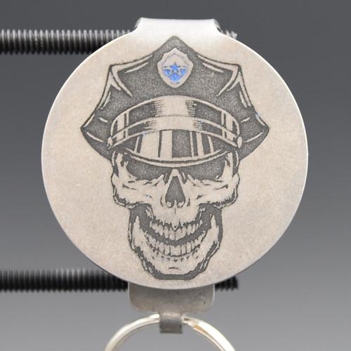Police Skull Pocket Clip Keychain
