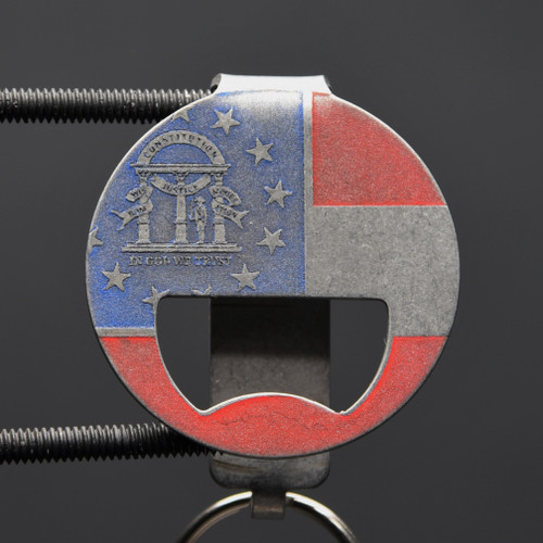 Georgia Flag  Bottle Opener Pocket Clip Keychain
