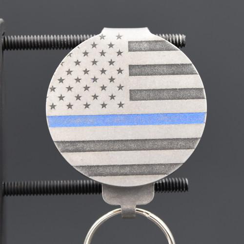 Blue Line Flag Pocket Clip Keychain