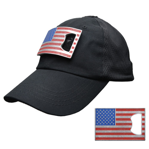 Black Mesh Tactical Hat with American Flag Bottle Opener  Patch