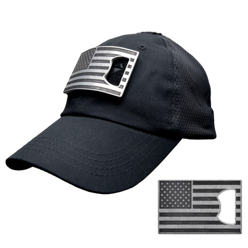 Black Mesh Tactical Hat with American Flag Bottle Opener Patch (Black and Grey)
