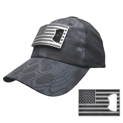 Typhon Mesh Tactical Hat with American Flag Bottle Opener Patch (Black and Grey)