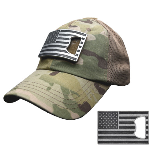 Multicam Mesh Tactical Hat with American Flag Bottle Opener Patch (Black and Grey)