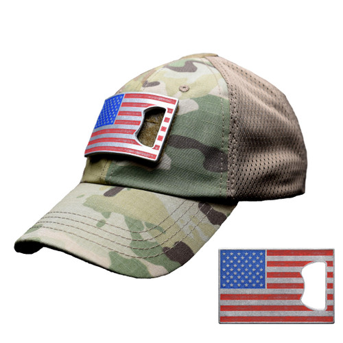 Multicam Mesh Tactical Hat with American Flag Bottle Opener Patch