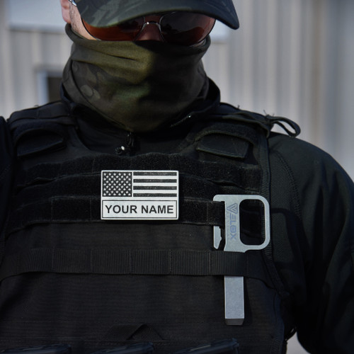 American Flag Black and Grey with Name Patch