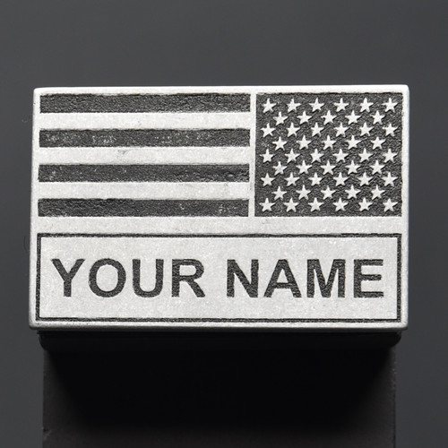 American Battle Flag Black and Grey with Name Patch