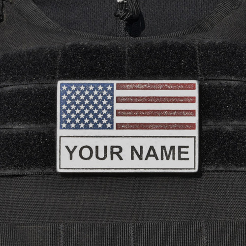 American Flag with Name Patch