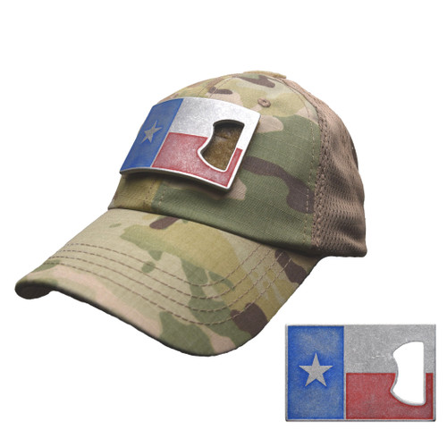Multicam Mesh Tactical Hat with Texas Flag Bottle Opener Patch