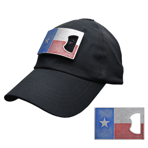 Black Mesh Tactical Hat with Texas Flag Bottle Opener Patch