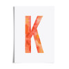 Watercolour Alphabet Initial Letter Print (Letter K in Apricot) by Dig The Earth