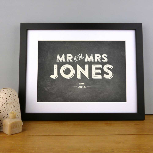 Personalised Wedding Mr And Mrs Print by Dig The Earth 'Vintage' Colour Option