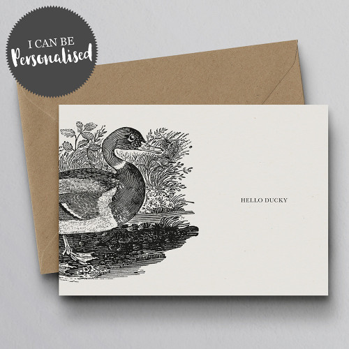 Hello Ducky Personalised Handmade Greeting Card by Dig The Earth