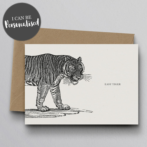 Easy Tiger Personalised Handmade Greeting Card by Dig The Earth