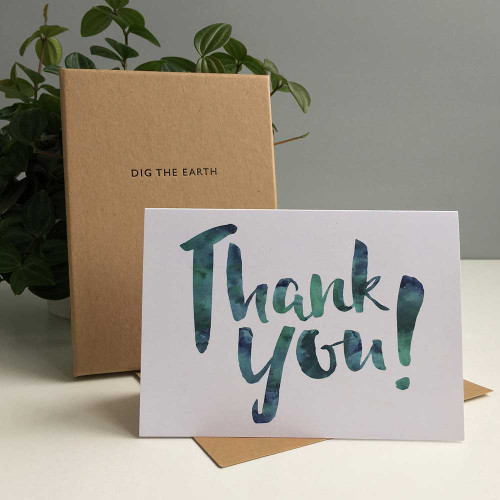 Thank You – Set Of 8 Inky Watercolour Greeting Cards by Dig The Earth