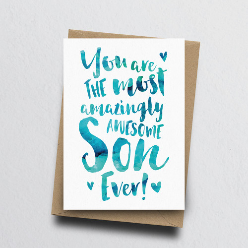 The Most Amazingly Awesome Son Greeting Card by Dig The Earth