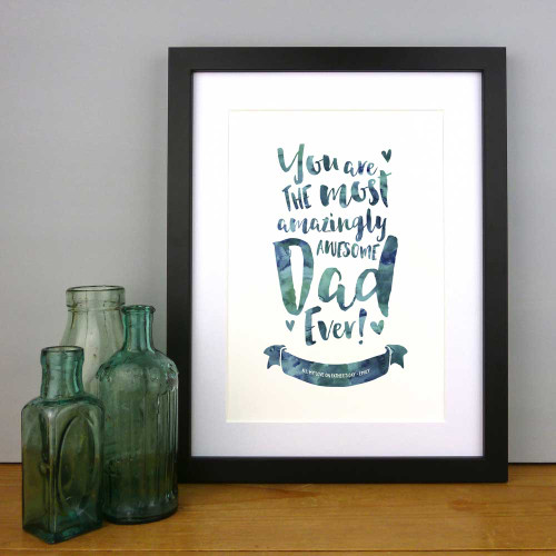 The Most Amazingly Awesome Dad Personalised Print in Periwinkle by Dig The Earth