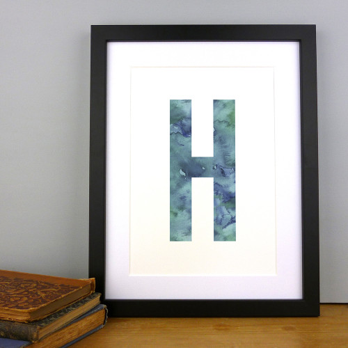 Watercolour Alphabet Initial Letter Print (Letter H in Periwinkle) by Dig The Earth