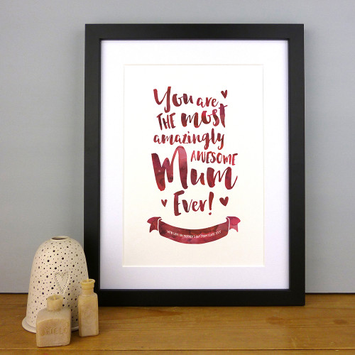 The Most Amazingly Awesome Mum Personalised Print in Pomegranate by Dig The Earth