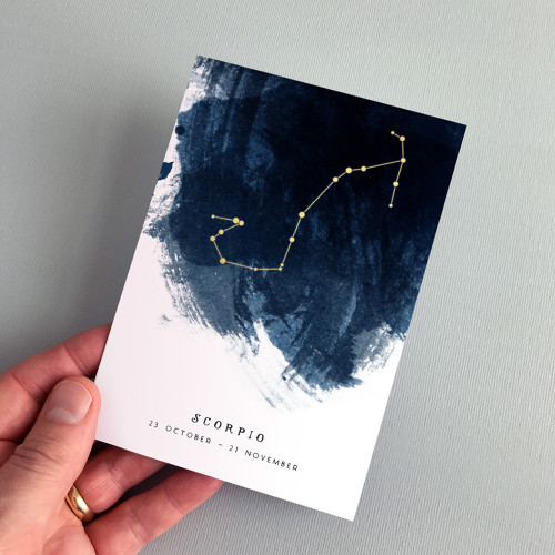 Scorpio Constellation Zodiac Star Sign Birthday Card by Dig The Earth