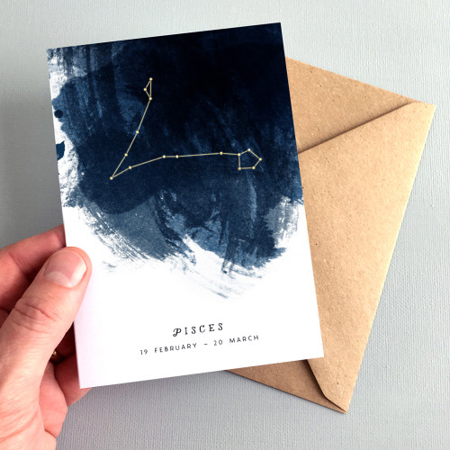 Pisces Constellation Zodiac Star Sign Birthday Card by Dig The Earth