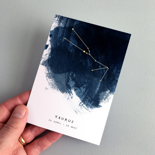 Taurus Constellation Zodiac Star Sign Birthday Card by Dig The Earth