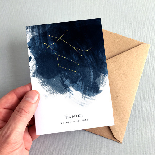 Gemini Constellation Zodiac Star Sign Birthday Card by Dig The Earth