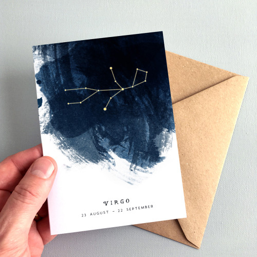 Virgo Constellation Zodiac Star Sign Birthday Card by Dig The Earth