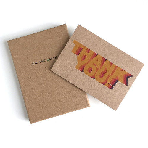 Thank You - Set Of 12 Colourful Repeat Note Cards by Dig The Earth