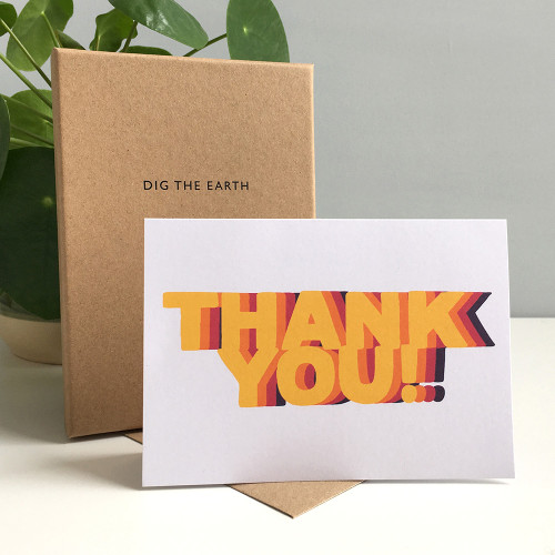Thank You – Set Of 8 Colourful Repeat Greeting Cards by Dig The Earth