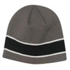 Charcoal/Black/White AC2600 Acrylic Knit Toque with Sandwich Stripe | Toque.ca