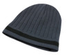 Charcoal/Black AC2630 Acrylic Knit Toque, Fleece Lining, Single Stripe | Toque.ca