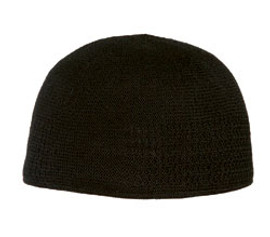 Black Cotton Knit Structured Toque