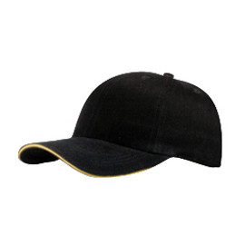 Black/Gold Fine Brushed Cotton Cap