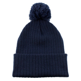 Navy AC1070 Acrylic Toque with Pom | Toque.ca
