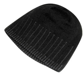 Black Jacquard Stripe Acrylic Toque