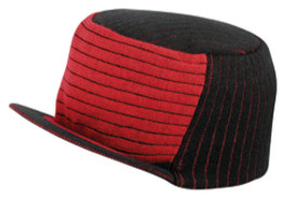 Black/Red Knit Trucker Hat with Brim