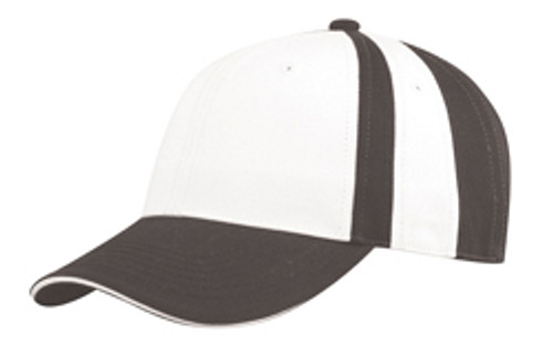 Black/White Collegiate Stripe Chino Twill Cap