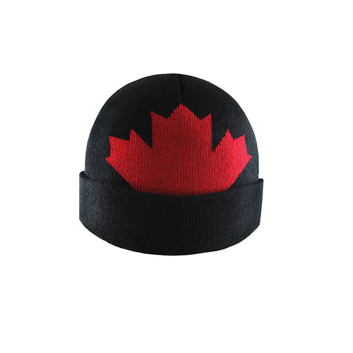 Black and Red - AC2040 Jacquard Acrylic Toque with Maple Leaf and Cuff