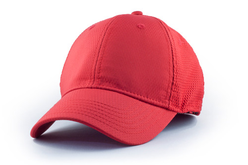 Red PO6161 High Performance Honeycomb Dobby Mesh Fitted Cap | Toque.ca