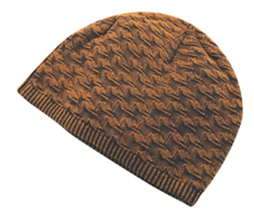 Burnt Camel Houndstood Patterned Knit Toque