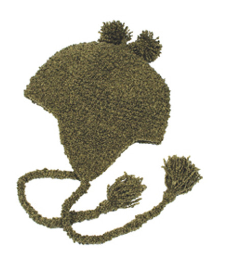 Olive Curly Yarn Earflap Toque