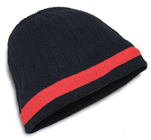 Black/Red AC2630 Acrylic Knit Toque, Fleece Lining, Single Stripe | Toque.ca