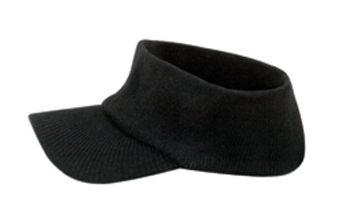 Black Cotton Acrylic Knit Open Visor